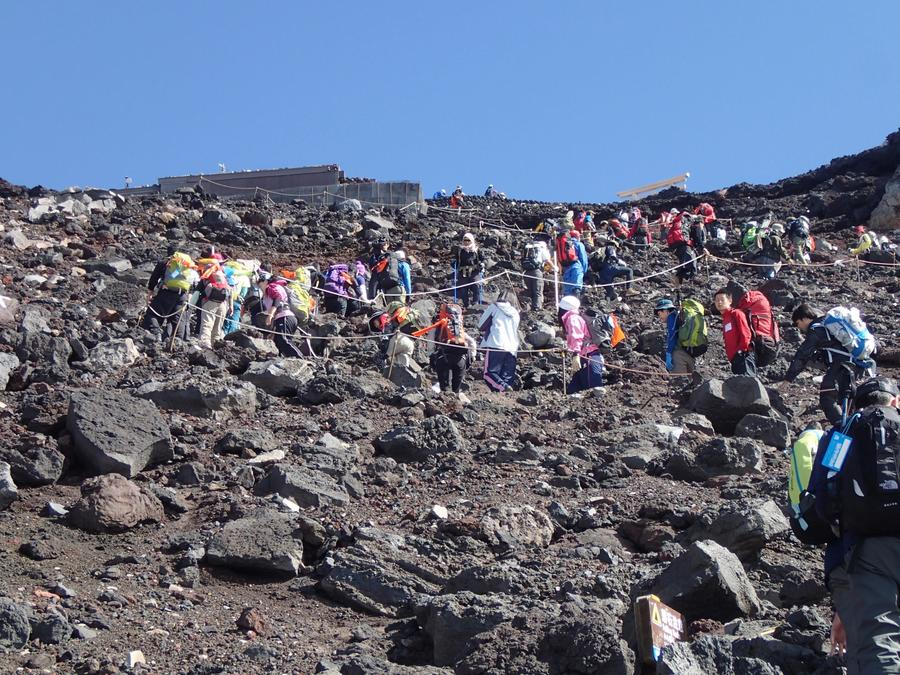 It's a steep climb from Fujinomiya Trail Route's 9th station to the summit