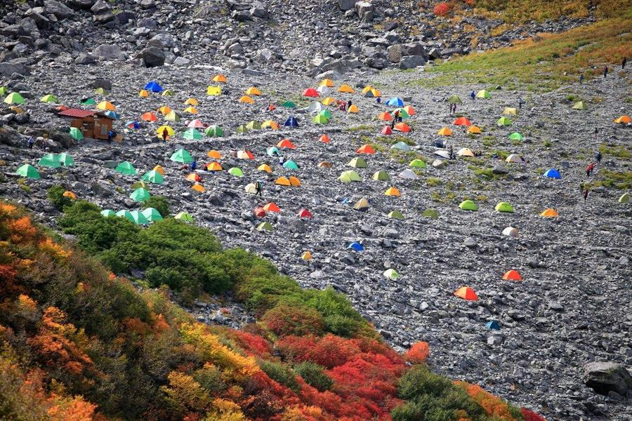 The Karasawa Cirque's camping area