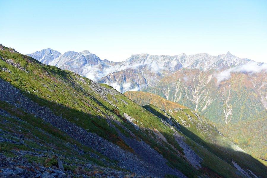 Amazing panoramic view of Mt. Yarigatake and Mt. Hotaka mountains