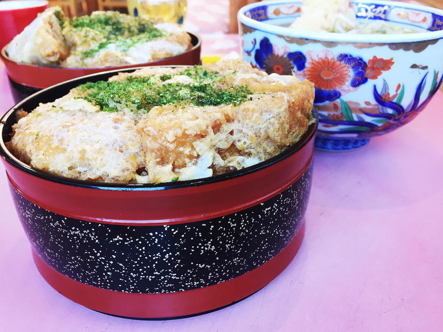 There are several eateries around the summit. Pictured is Katsudon (fried pork cutlet on rice).