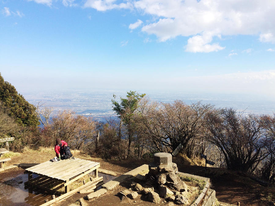 Mt. Oyama's summit has a bench and a great view. It's a good spot for a rest.